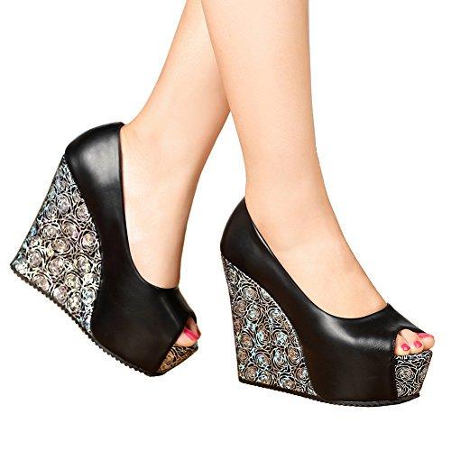 74eca6911830 getmorebeauty Women's Black Dress Shoes Party Wedding Open Toes High Heel  (10 B(M) US, Pure Black)... Glitter Sequin PumpGlitter sequinHeel measures  ...
