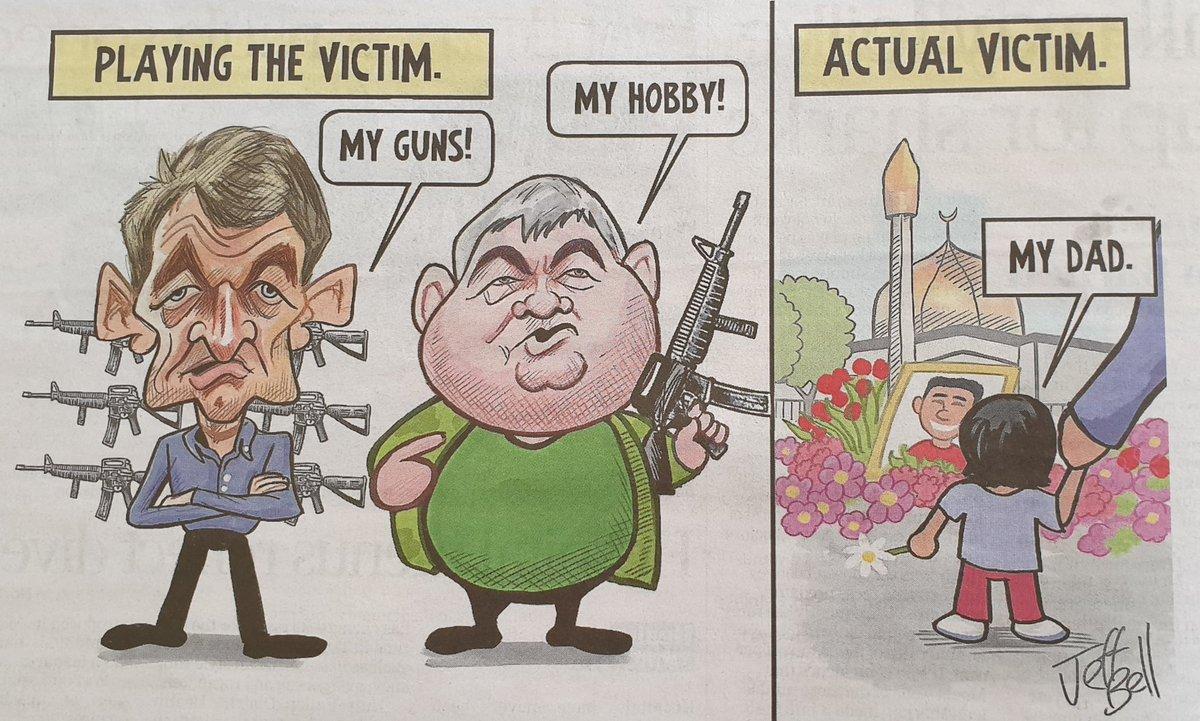 Cartoon today by @JeffBellNZ @NZStuff @DomPost about gun law reform