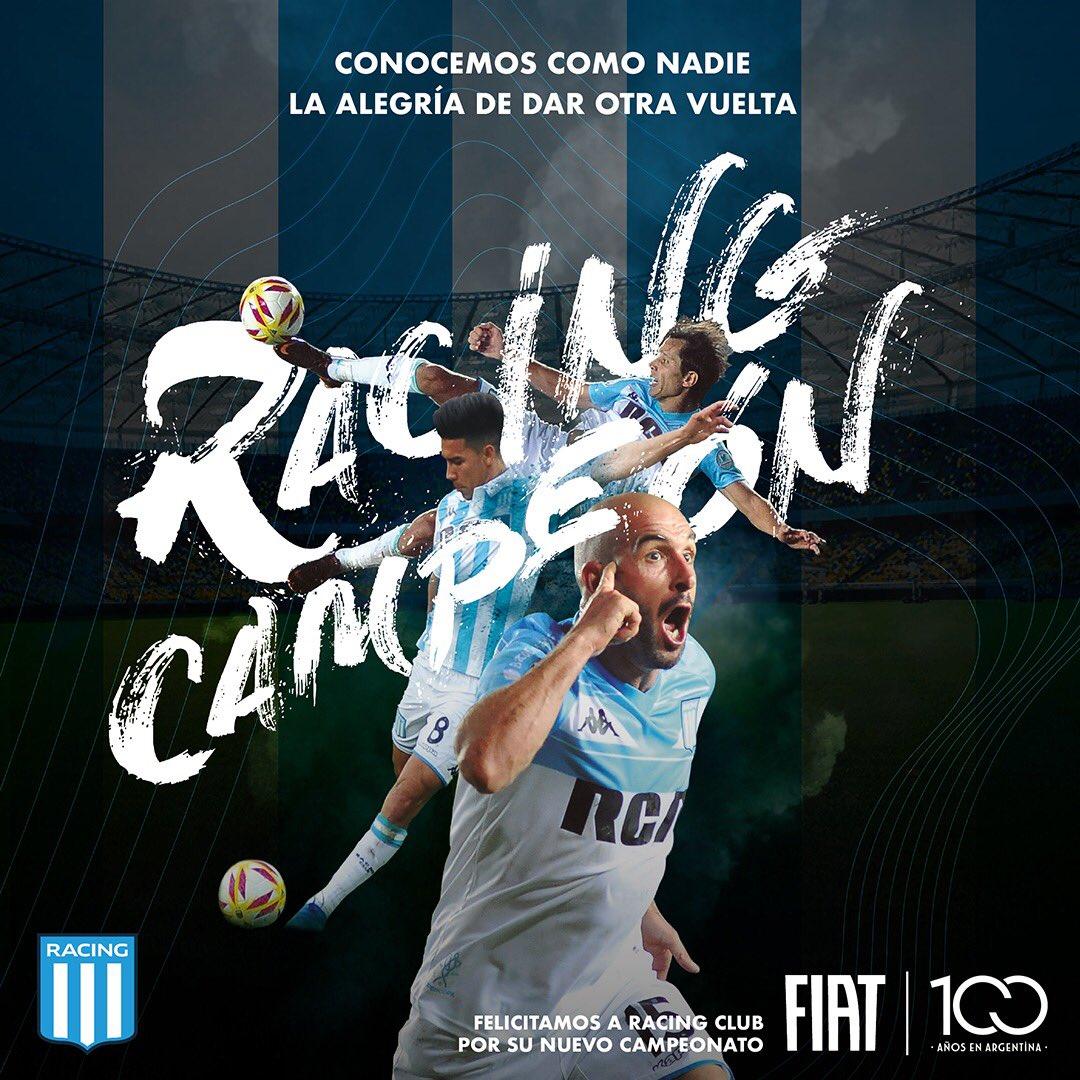 Felicitamos a @RacingClub por el campeonato obtenido. ¡Por otra vuelta más 💪🏻🏆! https://t.co/haSYYxwHbD