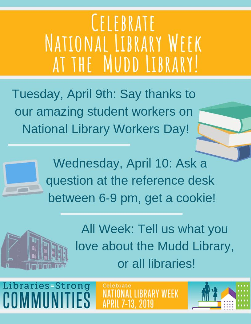 Poster describing National Library Week events: Tuesday, April 9th: Say thanks to our amazing student workers on National Library Workers Day! Wednesday, April 10: Ask a question at the reference desk between 6-9 pm, get a cookie! All Week: Tell us what you love about the Mudd Library, or all libraries!