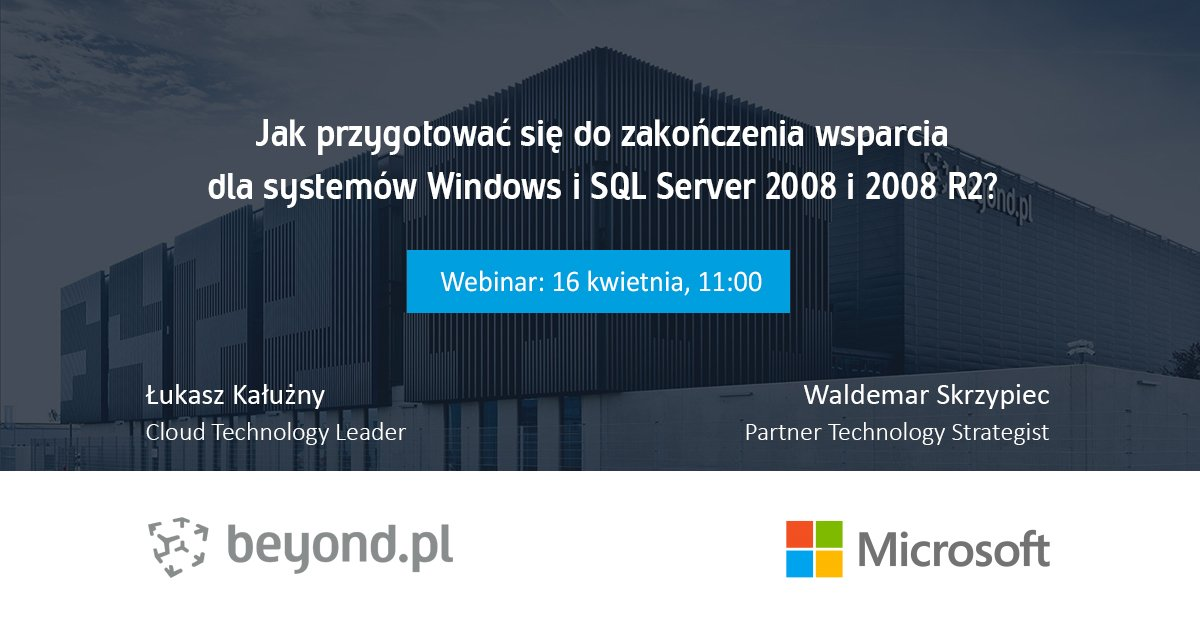 Free #webinar 📢 How to prepare for the end of support for Windows Server/SQL Server 2008 and 2008 R2⁉️ 🗓️April 16th  ⏰11:00 (Warsaw Time) Register NOW! ➡️ https://t.co/3896EGtfLl 👥Speakers: Łukasz Kałużny (@kaluzaaa) & Waldemar Skrzypiec #Microsoft   #SQLServer #WindowsServer https://t.co/wODCXTVQCX