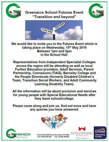 Please come and join us for our @GreenacreSchool Futures Event. Wednesday 15th May 2019 from 1.00pm #TransitionAndBeyond #PreparationForAdulthood 😊