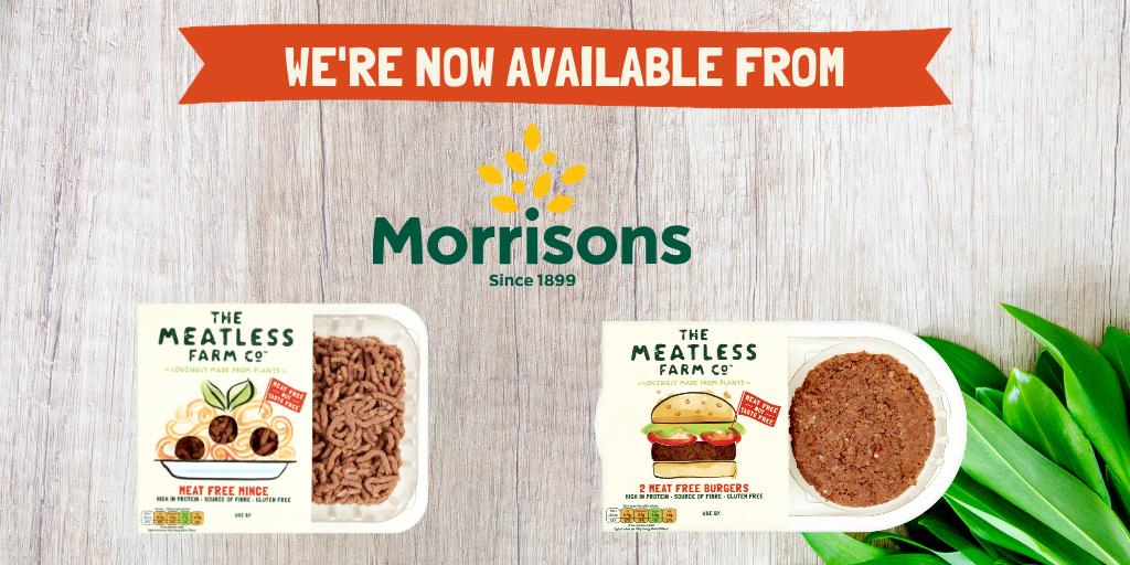 💥Meatless Farm is now on sale in @Morrisons💥  Our delicious #plantbased mince & burgers are stocked in over 460 stores in the #meatfree aisle 💚🌱.  100% #vegan and #glutenfree, loaded with taste and texture to help you reduce your meat consumption.  https://groceries.morrisons.com/search?entry=meatless%20farm…