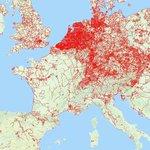 La carte des pistes cyclables en Europe !  Les nuages radioactifs ne s'arrêtent pas à la frontière mais on dirait que les pistes cyclables si 😁