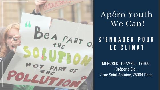 📣L'Apéro #Youth We Can! revient pour le mois d'avril avec une rencontre sur le thème du #Climat 🌎 Venez vous inspirer et échanger avec de #jeunes acteurs qui ont décidé d'agir ! ➡️Quand ? Mercredi 10 avril à 19h00 ➡️Où ? Crêperie Elo Bastille http://bit.ly/2UESMGc