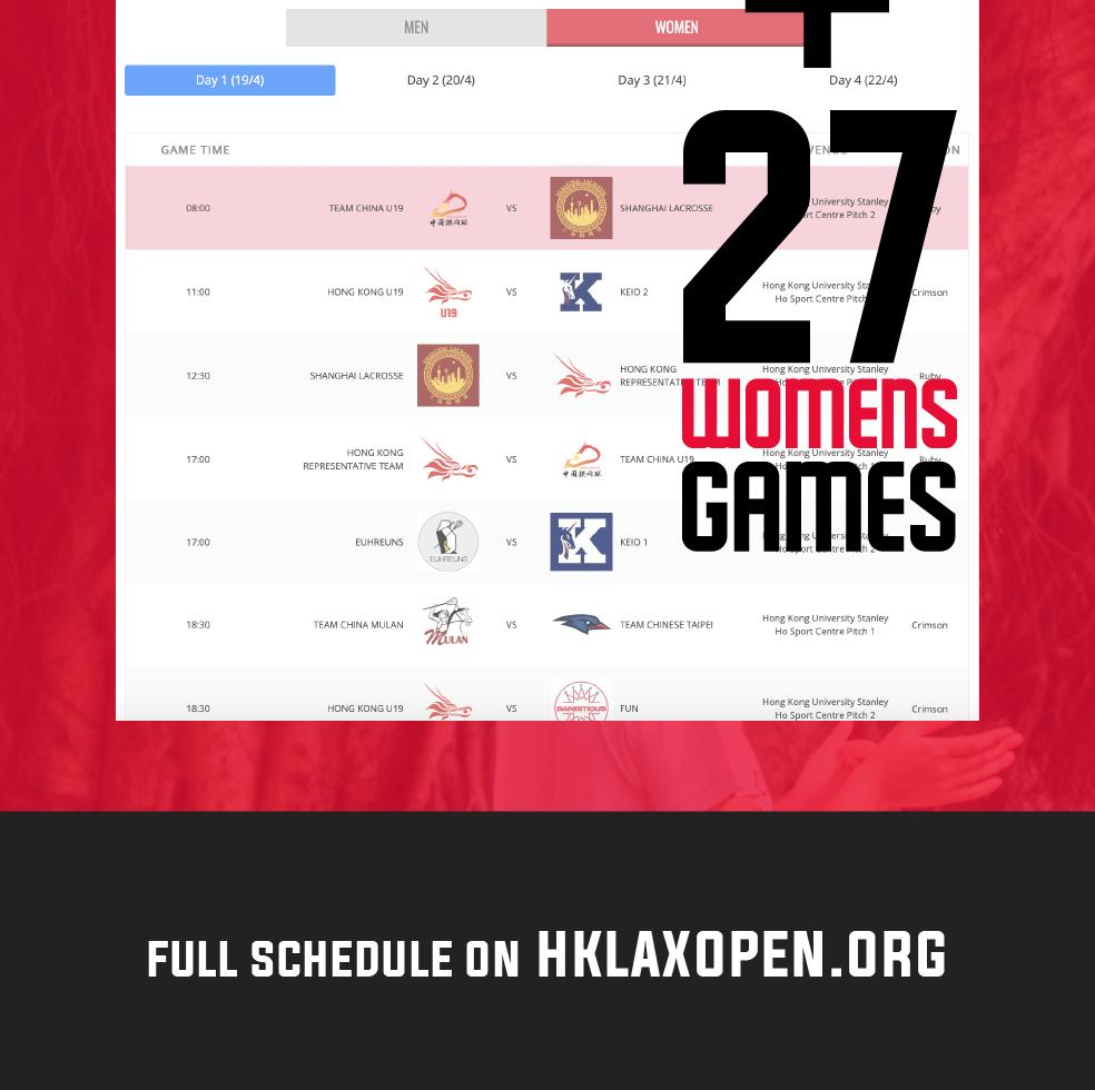 10 DAYS AWAY! Hong Kong Lacrosse Open, April 19-22 with a Total 60 games! Come watch all 60 games live for FREE! Also FREE livestream for championship game! Get the full game schedule at https://t.co/iSXYf5uImm #hklacrosseopen2019 #hklacrosse @hklacrosse