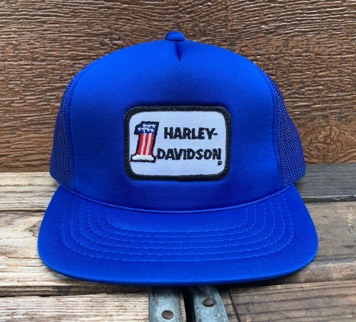 72b704aadca Harley davidson motorcycles vintage blue mesh snapback trucker hat jpg  1200x1088 Vintage etsy trucker snapback mesh