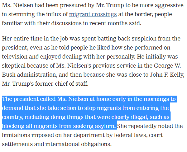 """Reading between the lines here, it appears that Kirstjen Nielsen had difficulty because President Trump, kept getting hyped up on Fox & Friends coverage of the migrant """"invasion"""" and calling her early in the morning to demand that she break the law. https://www.nytimes.com/2019/04/07/us/politics/kirstjen-nielsen-dhs-resigns.html…"""