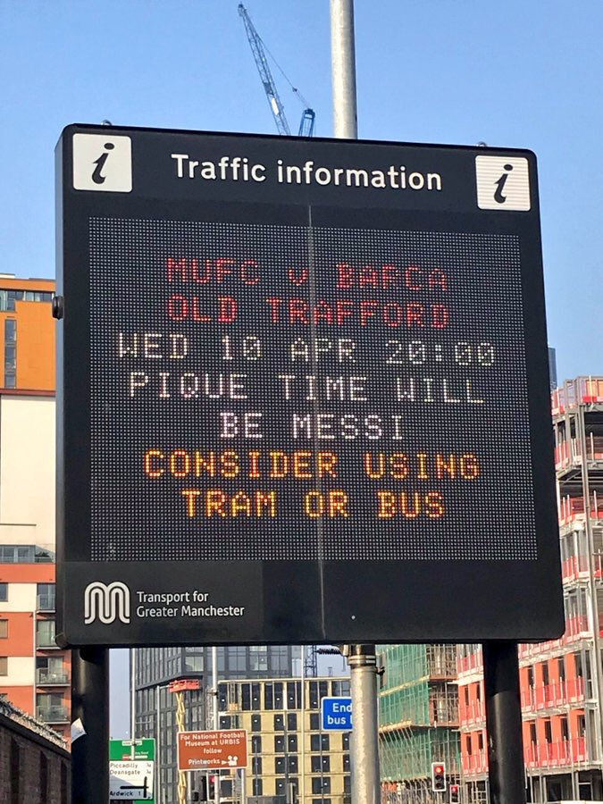 Love the traffic information for #Manchester. #MUFCBarça 🔴⚪️⚫️