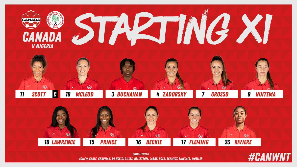 Starting XI 🍁  Watch #CANWNT face Nigeria LIVE on http://CanadaSoccer.com at 10.00 ET / 7.00 PT!