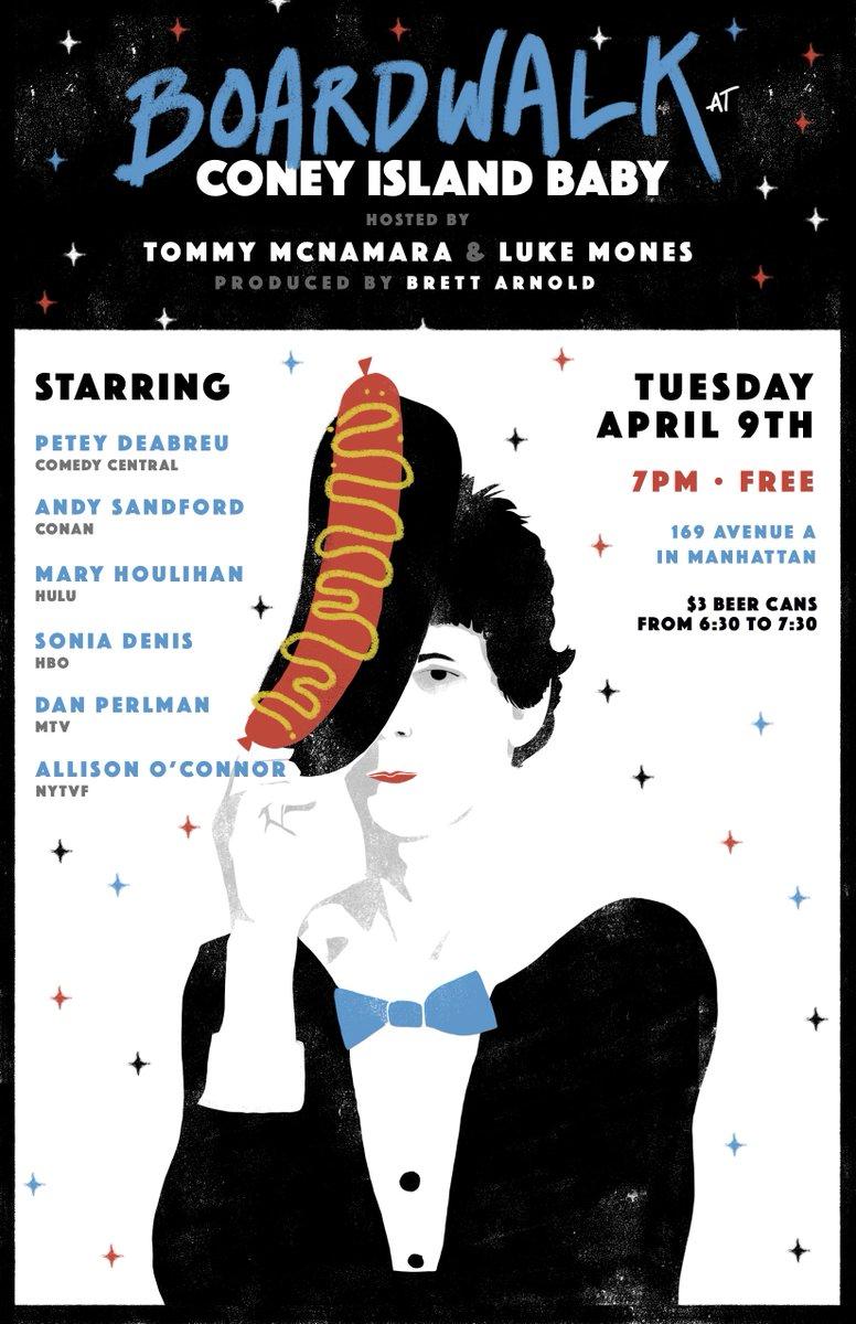 FREE: NYC's Boardwalk Stand-Up returns TOMORROW, 4/9, @cibnyc with a killer lineup!  Petey DeAbreu @andysandford @maryhoulie  @sonideni  @danjperlman  Allison O'Connor  w/ hosts @TommyMcNam & @LukeMones   RSVPs now open: https://www.eventbrite.com/e/free-nyc-stand-up-comedy-ft-deabreu-sandford-houlihan-tickets-60031415580?aff=ebdssbdestsearch…