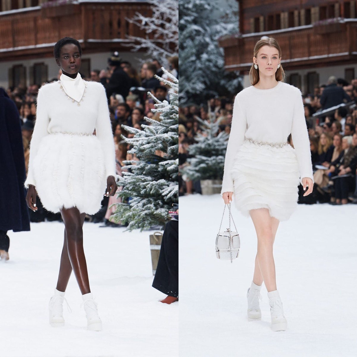 Looks of the #CHANELFallWinter 2019-20 collection, designed by #KarlLagerfeld & #VirginieViard #CHANELintheSnow | Visit http://espritdegabrielle.com  L'héritage de Coco Chanel #espritdegabrielle © #CHANEL