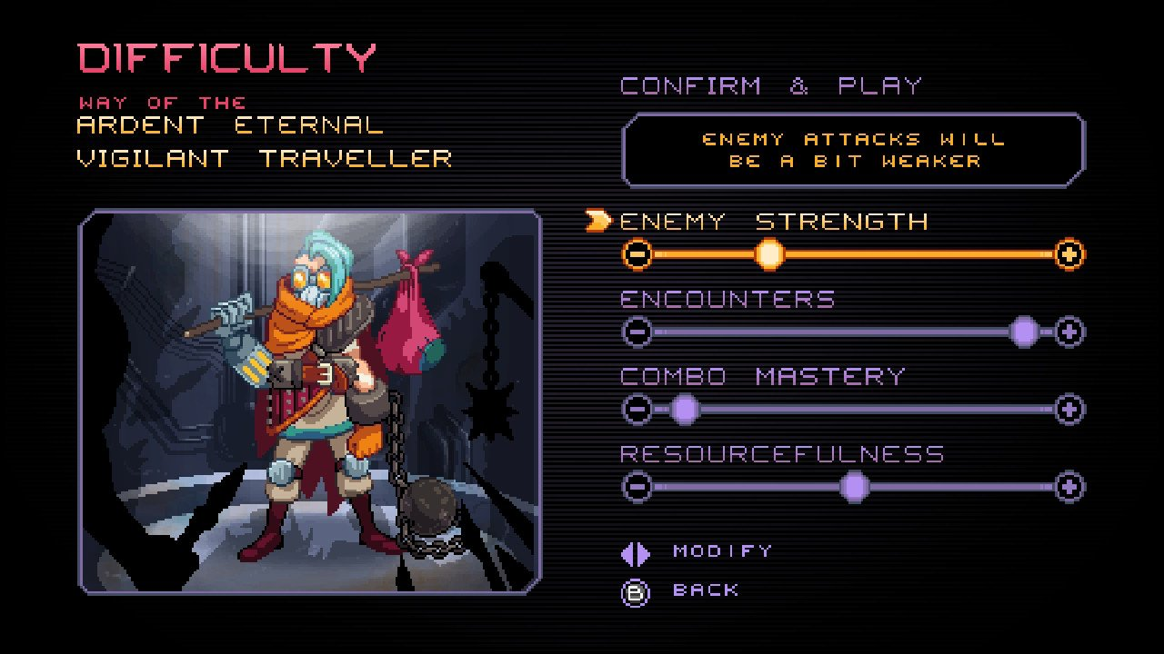 """Difficulty"" Screen for the game, showing the options for: Enemy Strength, Encounters, Combo Mastery, Resourcefulness"