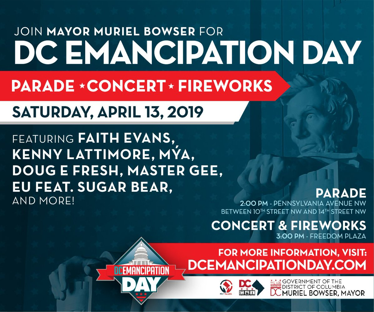 2ae6ff09659 Come celebrate  DCEmancipationDay with  MayorBowser on 4 13. Fun for all  ages! A list of all Emancipation Day events