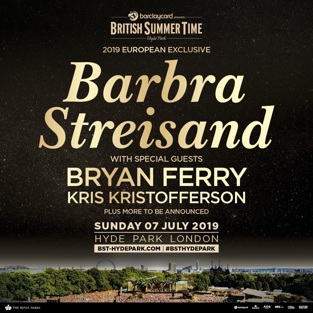 Thrilled to welcome @BryanFerry and Kris Kristofferson to my headline show at @BSTHydePark on Sunday 7th July! Tickets on sale now: https://po.st/BarbraBST
