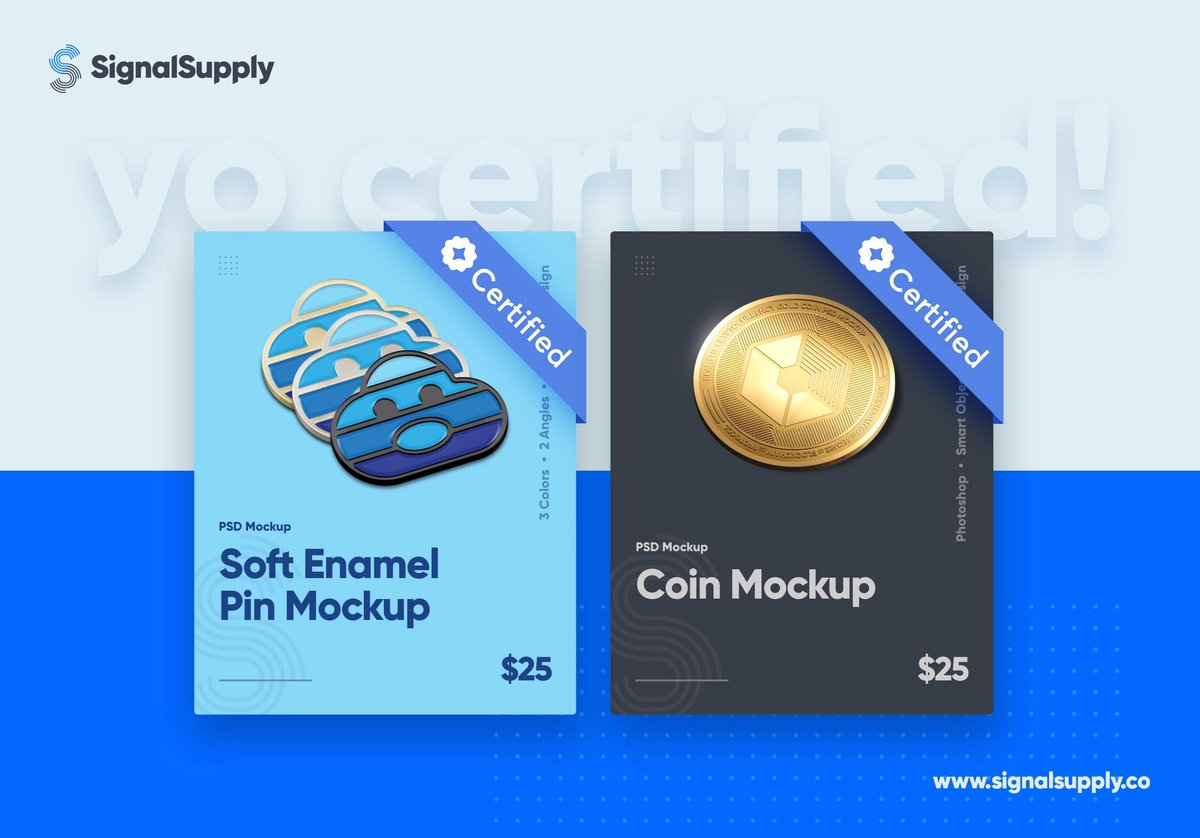 SignalSupply's soft enamel pin mockup and coin mockup are now