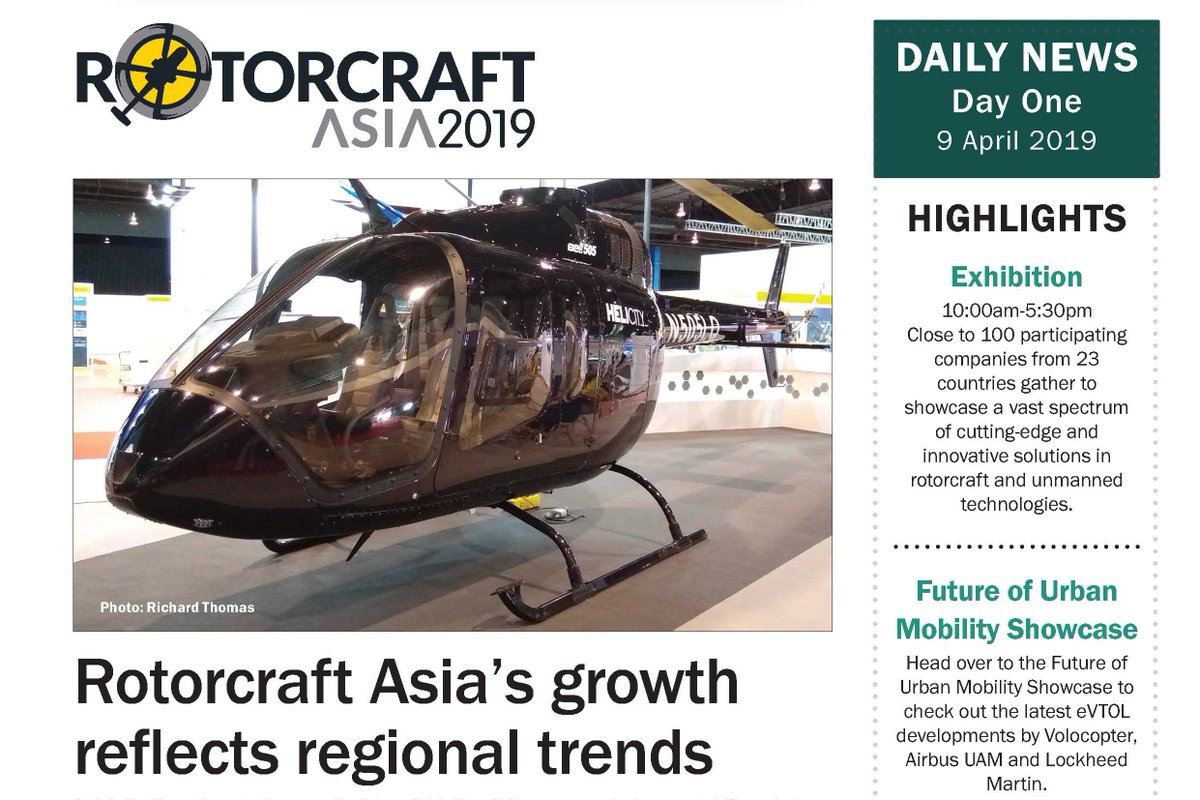 RT ShephardNews: Rotorcraft Asia & Unmanned Systems Asia 2019 Daily News - Day One https://t.co/gY2z9DKhNM #rotorcraftasia2019 #UMSAsia2019 #ShephardMedia https://t.co/LEo6SaggUM
