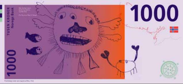 ではここでノルウェーの紙幣デザインコンペ(のボツ案)を見てみましょう。最高です。 #新紙幣
