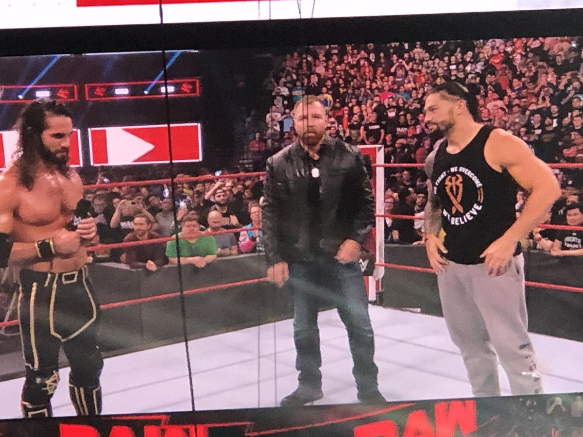 """#Raw is over but Seth and Roman are giving Dean a loving send off.   Crowd: """"Please don't go!""""   Seth: """"I tried that guys. It didn't work."""""""