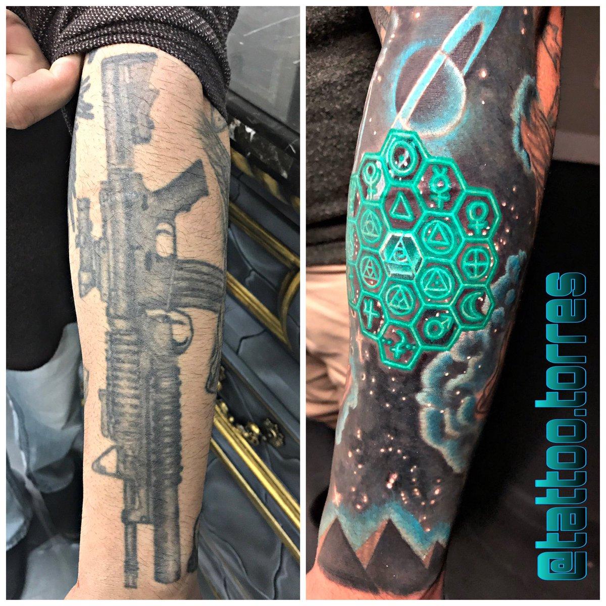 #tattoocoverup taking appointments. #inkfix #tattoohelp #tattoocover #tattoocoverups #galaxytattoo #galaxy #alian #pyramids #tattootorres #glow #saturntattoo #saturn