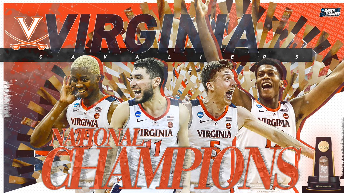 VIRGINIA = NATIONAL CHAMPIONS!  (1) Virginia outlasts (3) Texas Tech 85-77 in OT to win the 2019 #NationalChampionship! #GoHoos