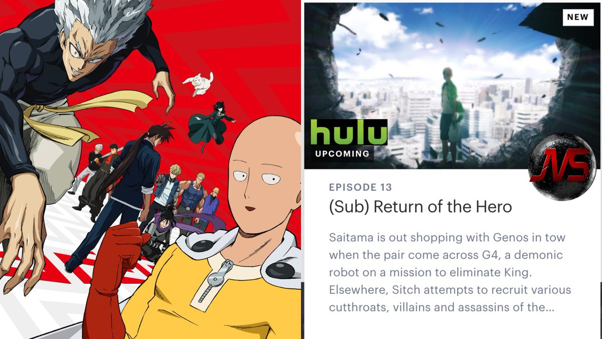 Team Jvs Renewcloakanddagger On Twitter Onepunchman Season 2 Is Set To Premiere On Hulu On The Same Day Of Its Japanese Broadcast One Punch Man Season 2 Will Air Around 1 35 A M In