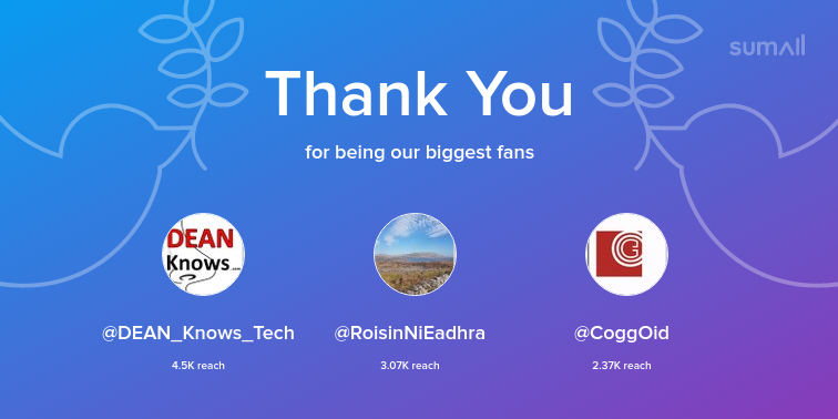 Our biggest fans this week: @DEAN_Knows_Tech, @RoisinNiEadhra, @CoggOid. Thank you! via https://sumall.com/thankyou?utm_source=twitter&utm_medium=publishing&utm_campaign=thank_you_tweet&utm_content=text_and_media&utm_term=8bbd5ebb61543c6842e2142e…