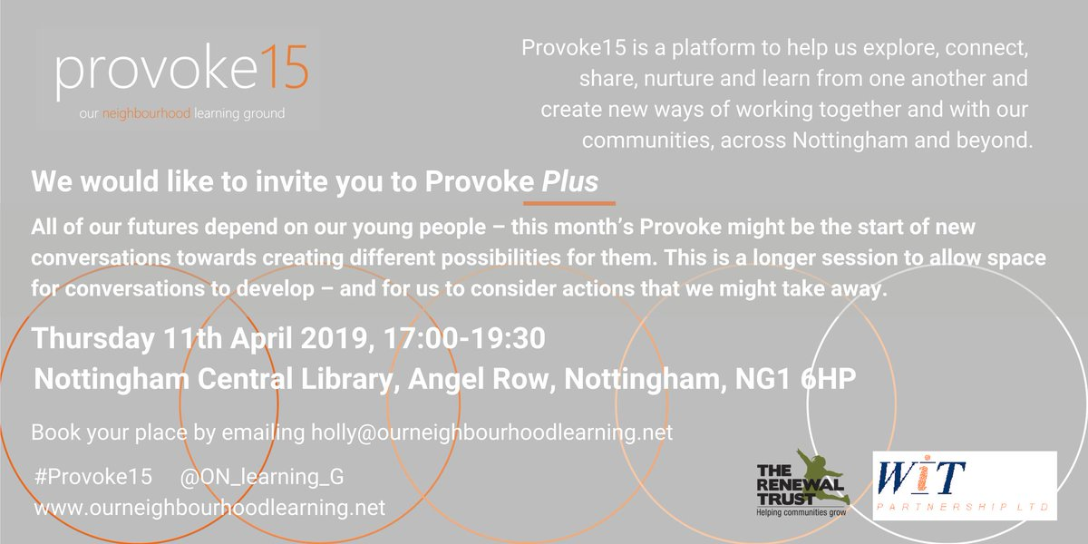How can we better support the wellbeing of young people? A #free and open discussion this Thursday from 5pm, as part of the #Provoke15 series of talks. To find out more and book: http://ourneighbourhoodlearning.net/provoke/4594087114…