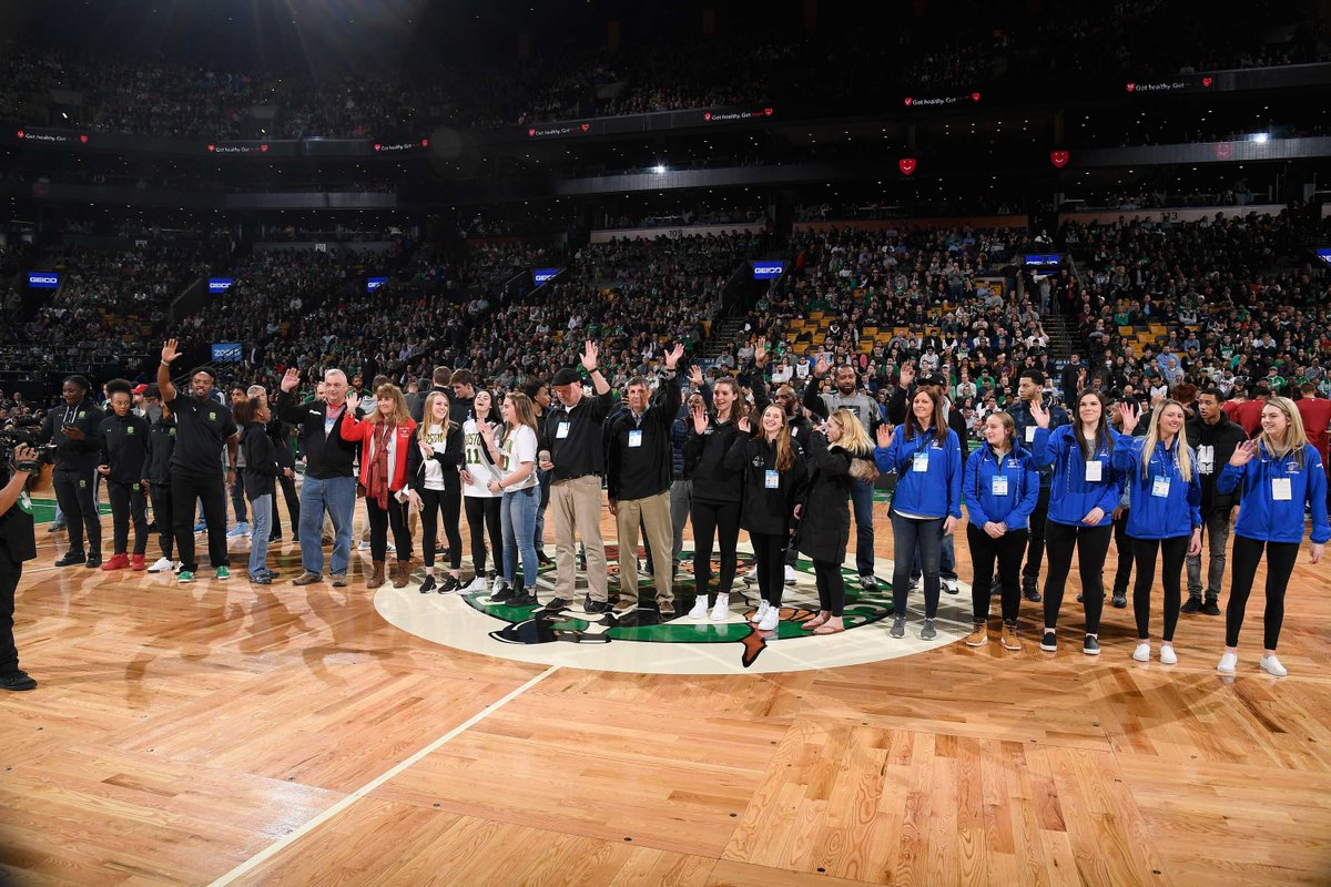 test Twitter Media - Our girls basketball state champions, represented by Head Coach Clinton Lassiter, Asst Coach Shanika Smart, and players McKenzie Dalbe '20, Kiara Ainsley-Hinds '20, and Dejah Jenkins '19, received on-court recognition last Monday at the @celtics v. @MiamiHEAT game at @TDGarden. https://t.co/yyDoza72h0