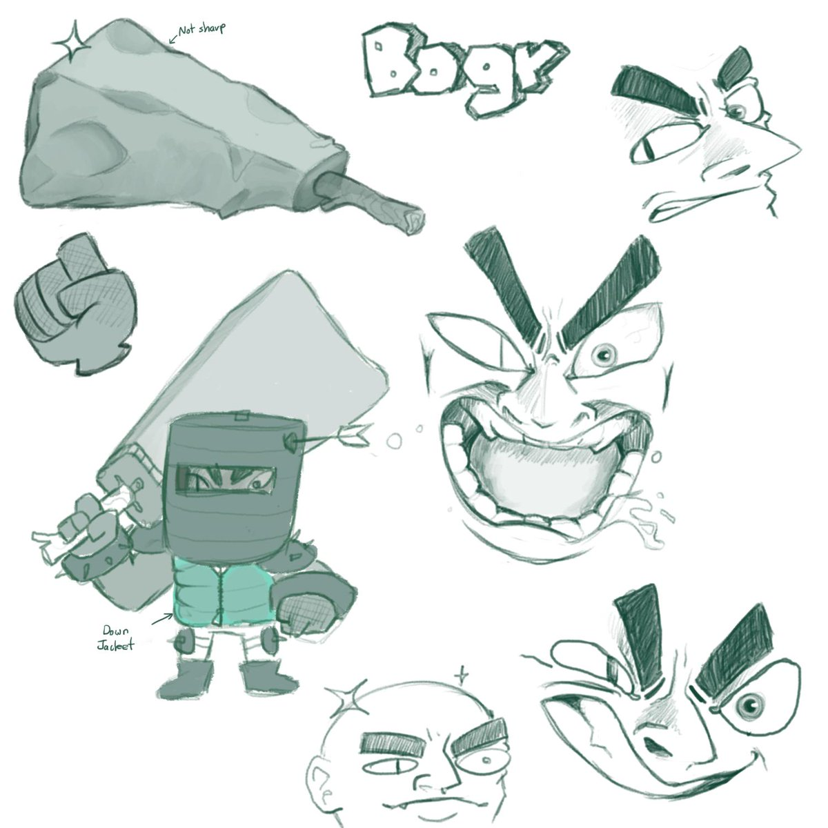 Meet Bogr, my outlet for wanting to draw really over the top expressions. If yall like him there might even be a full painting of this angery gremlin man #CharacterDesign #Bogr #Design #Art