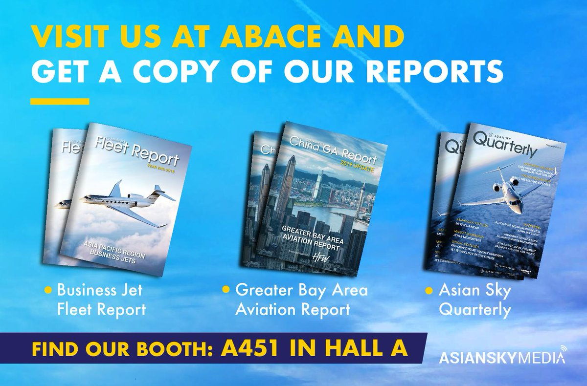 At the premier business aviation event in Asia, get a copy of the most anticipated industry reports. ASG is ready to meet you at Booth A451, Hall A at ABACE 2019, Shanghai.  #ABACE2019 #BizAv #AsianSkyGroup #AsianSkyMedia