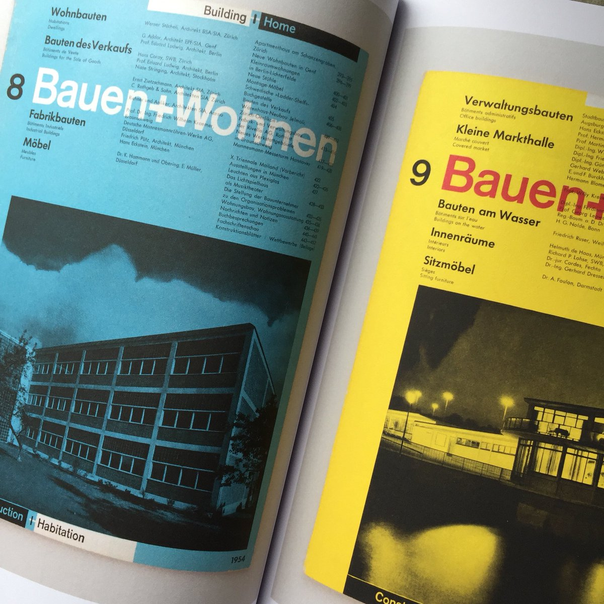 Bauen+Wohnen (German edition) covers from 1954, as featured in Impact 1.0: Design magazines, journals and periodicals [1922–1973] #uniteditionspic.twitter.com/rTqEp4c8e4