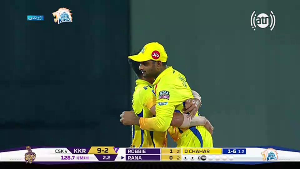 Match 23 Chahar to Rana, OUT,9/3 * (2 3/20 ov) #CSKvKKR
