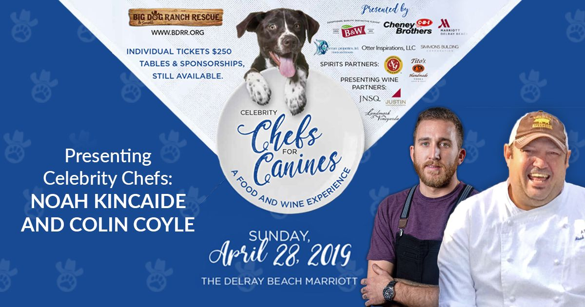Chef Noah Kincaide and Chef Colin Coyle will transport you to New England with an amazing recipe at our upcoming Celebrity Chefs for Canines! Don't miss it! Register today: https://buff.ly/2uViPKy 🐾 🥂  #bigdogranchrescue #adoptdontshop