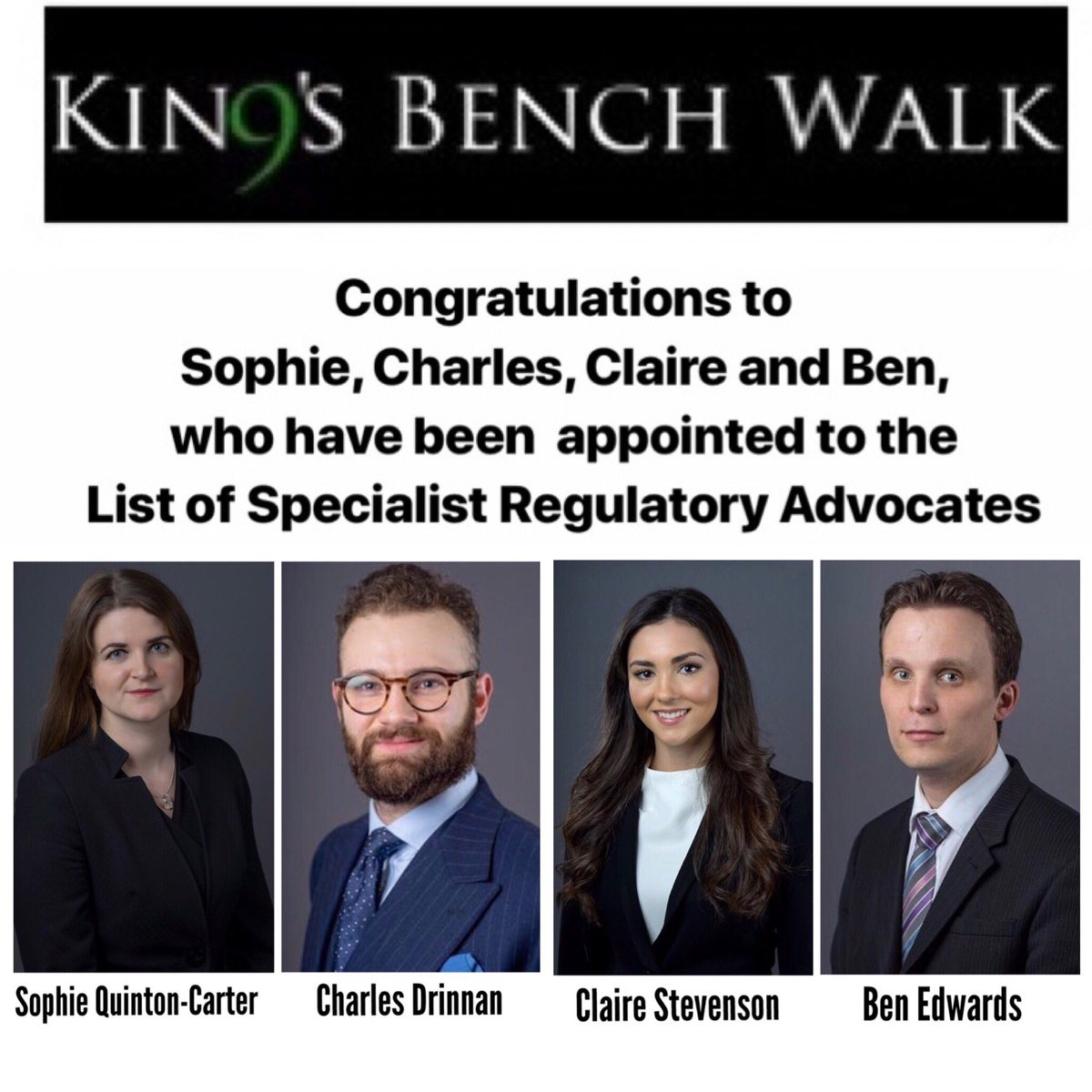 9KBW Congratulates Sophiebatbouche Charles Claire ClaireStevens0n And Ben EdwB28 For Being Appointed To The List Of Specialist Regulatory
