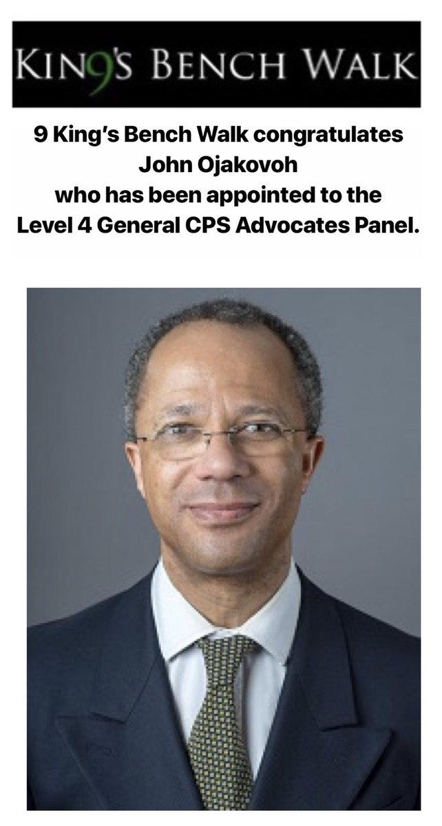 9KBW Congratulates John Ojakovoh Who Has Been Appointed To The Level 4 General CPS Advocates Panel Law Criminallaw Prosecution Barrister