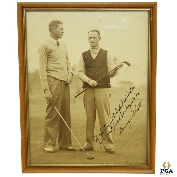 Master week is now upon us, and what a great item from the @PGAREACH collection: Horton Smith's signed photo from Denny Shute congratulating him on his 1934 Augusta victory! http://thegolfauction.com/lot-40348.aspx  Place your bids now! @pgahistorybug @MMOGolf @PGA @PGAChampionship @JSALOA