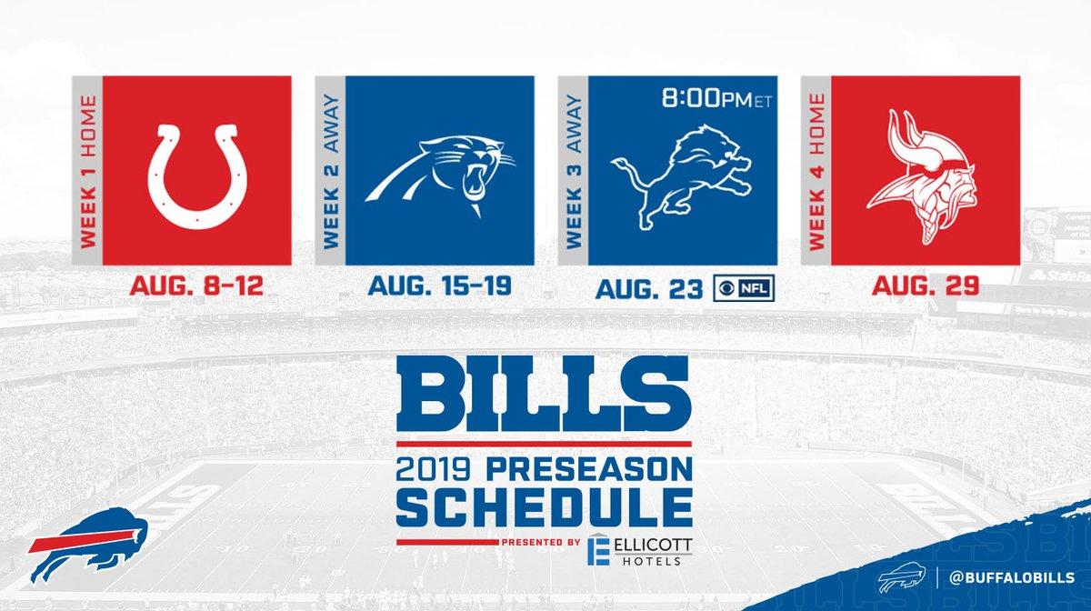 The 2019 Buffalo Bills preseason schedule has arrived! 🙌 #GoBills  Details: http://bufbills.co/iGp7KP