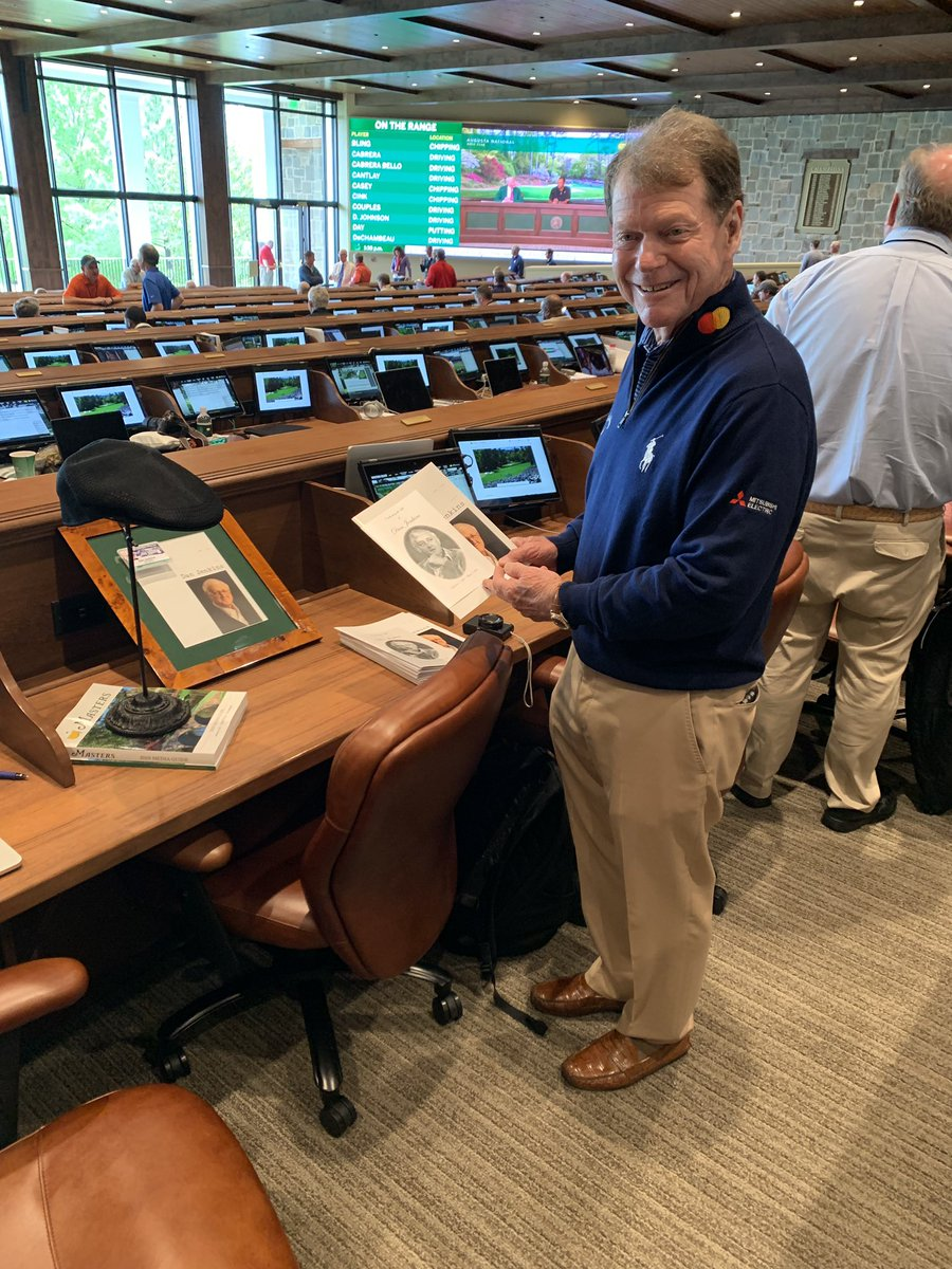 Special visit to late writer Dan Jenkins' desk in the media center here at @TheMasters. One of the best all time.