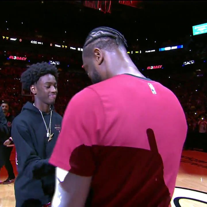 .@DwyaneWade's son, Zaire, recreated Wade's old commercial to introduce his dad ahead of his last regular season home game in Wade County. 👏