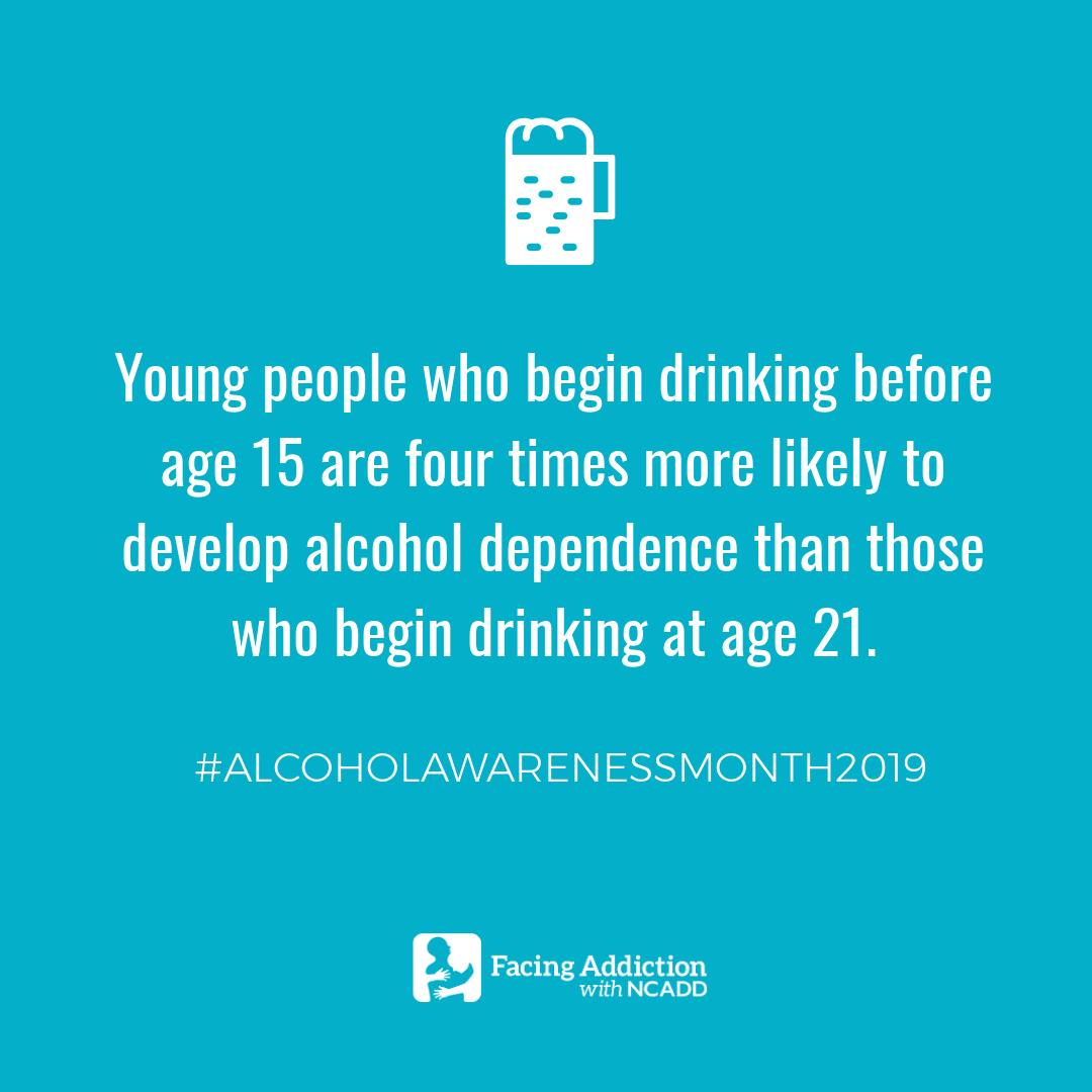 We're joining @FacingAddiction for #AlcoholAwarenessMonth2019! Did you know that underage binge drinking can increase chances of developing alcohol dependence? Make sure to start the conversation about underage drinking with your teen early! https://t.co/w9o2y3LkJ2