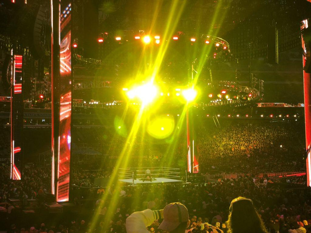 This is what we saw from the $400 seats for most of the show. Notice everyone covering their eyes? @wwe