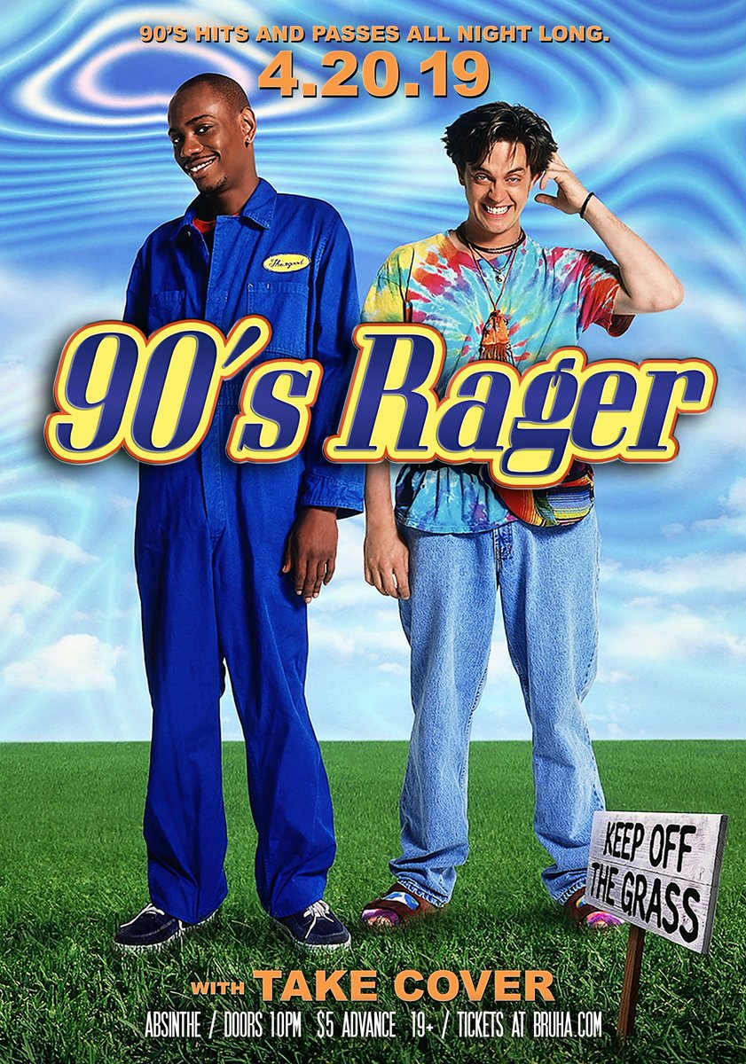 APRIL 20TH! Grab your buds and hacky sack and prepare for our monthly 90'S RAGER feat. @takecoverlive w/ your fave 90's hits and passes all night. Cheap $5 tickets here: http://bit.ly/2uTomRZ