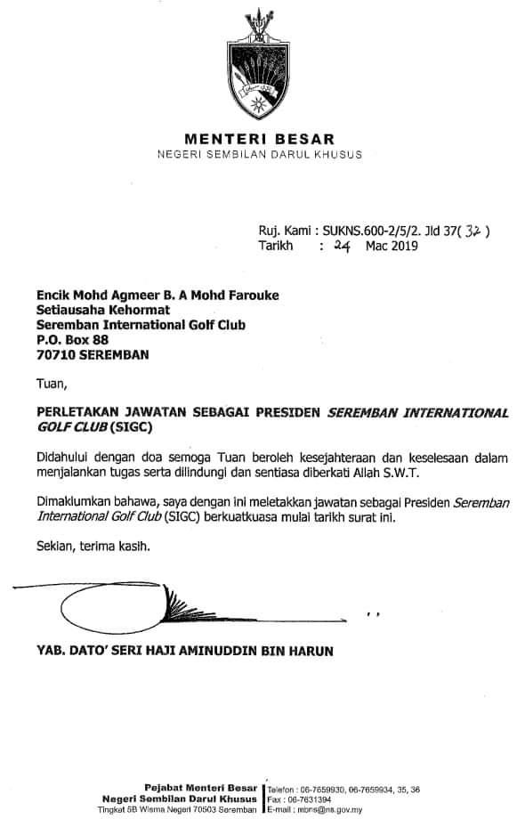 Menteri Besar Negeri Sembilan On Twitter Surat Perletakan Jawatan Sebagai Presiden Seremban International Golf Club Sigc Seperti Yang Dijanjikan