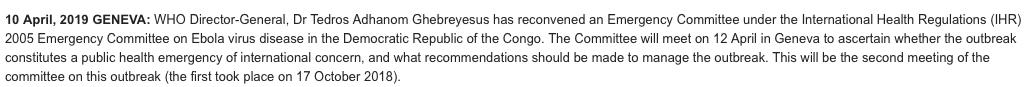 .@WHO is convening an emergency committee to determine if the #Ebola outbreak in DRC is an public health emergency of international concern. Meets Friday. @nicolamlow