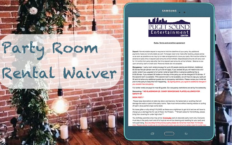 Create party room rental waiver for your rental business. #ElectronicSignatureWaiver #ElectronicWaivers #WaiverApp #OnlineWaiverSigning #OnlineReleaseForm #WaiverSoftware #OnlineWaiverSolution #RentalWaiver #OnlineWaiverSystem https://www.cleverwaiver.com/?ftwitter