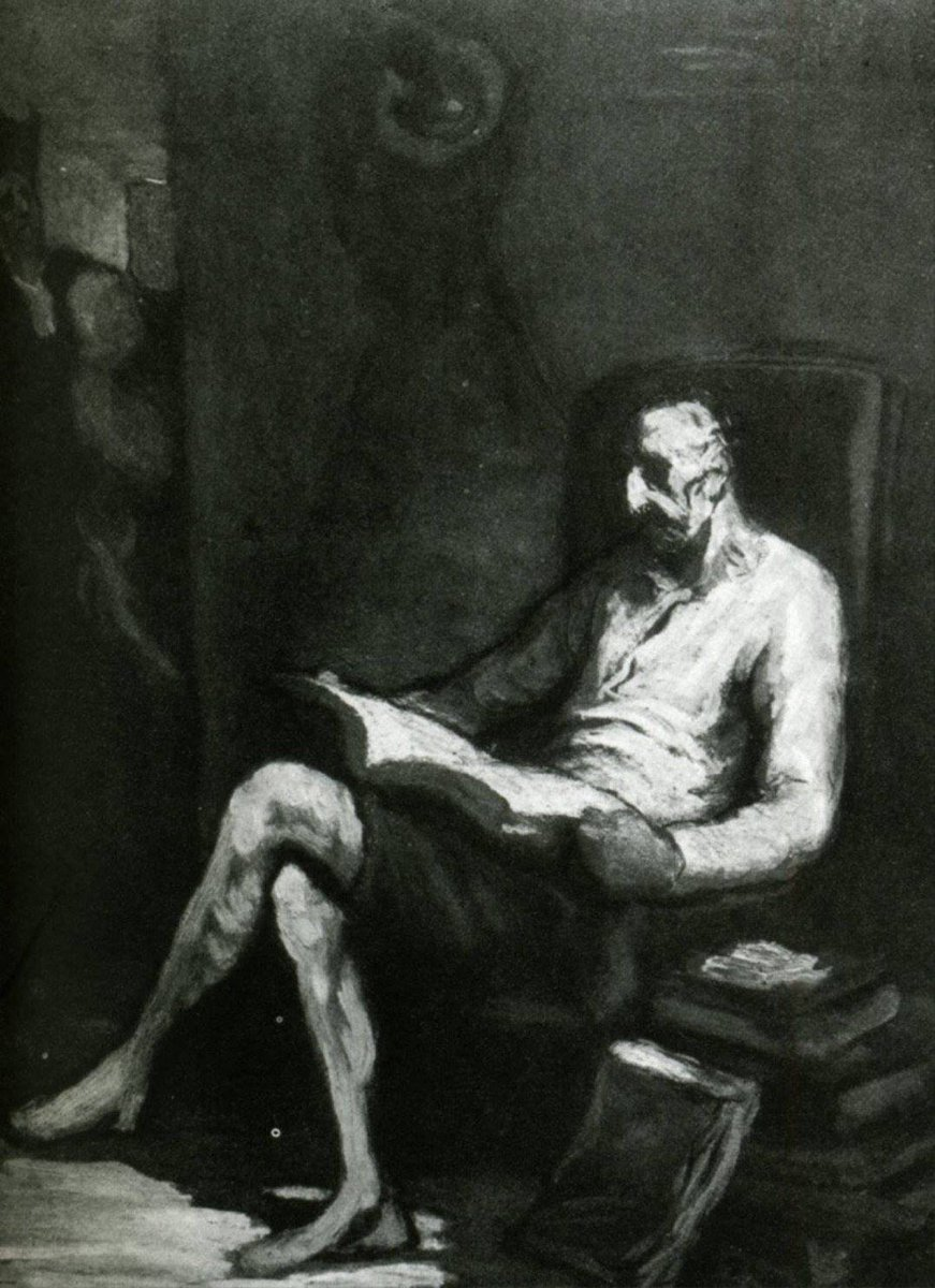 #DonQuixote Reading (1870) #HonoréDaumier  #دن_کیشوت<br>http://pic.twitter.com/S2yPu3DdBc