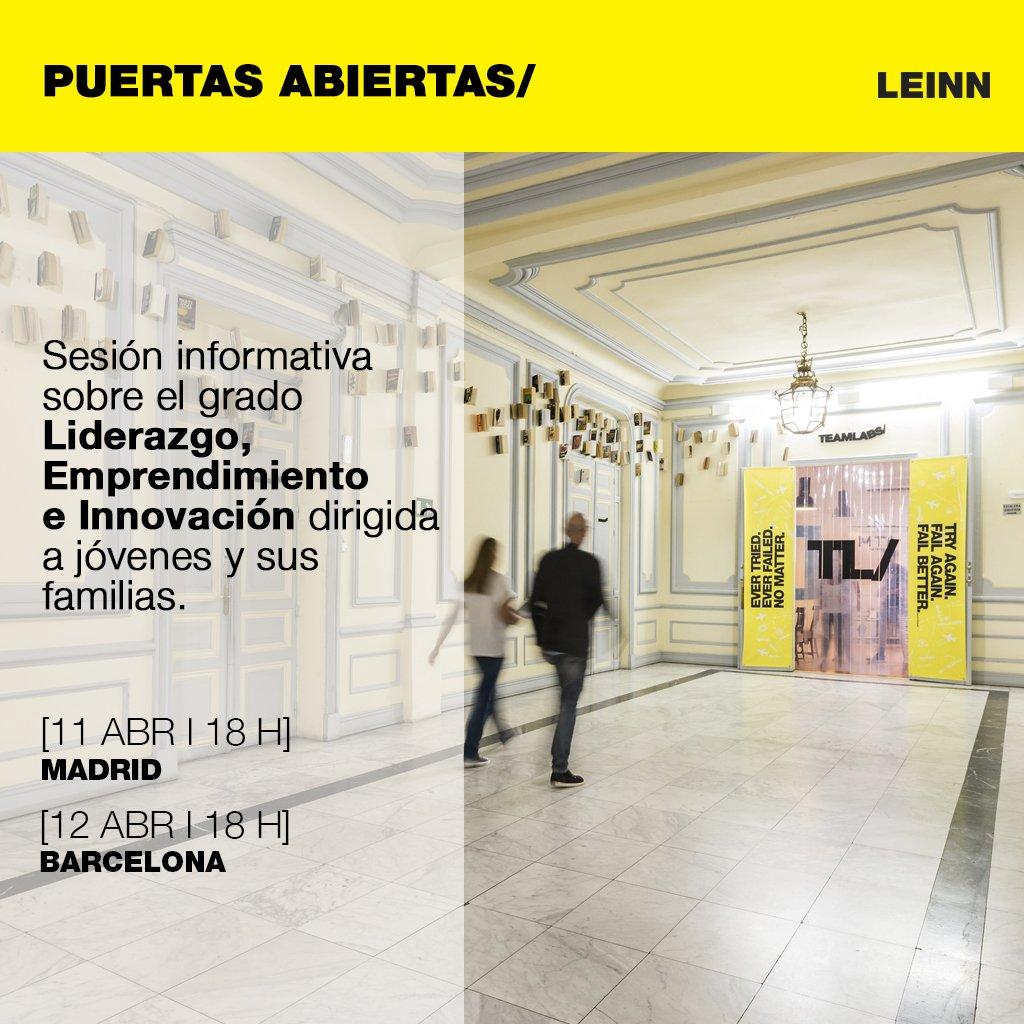 Abrimos las puertas de nuestros Labs para que puedas conocer mejor en qué consiste el grado #LEINN, sus métodos de trabajo y sus instalaciones. Madrid: https://bit.ly/2GdA28F  Barcelona: https://bit.ly/2UMeBDJ  #emprendimiento #liderazgo #innovacion #TeamLabsPoblenou