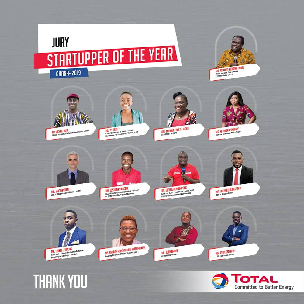 We say a profound thank you to the Jurors of the Startupper of the Year by Total Challenge.  #TotalStartupper