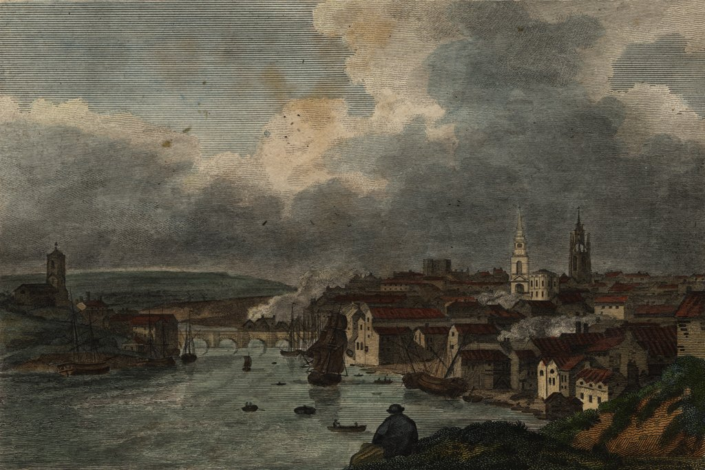 In this print from 1797, we can see St Nicholas&#39;s Cathedral, All Saint&#39;s Church and the old Tyne Bridge (on the site of the present day Swing Bridge), alongside the Keep. Perhaps you&#39;ve visited them, or have walked along the Quayside. <br>http://pic.twitter.com/e1iX1uYINB
